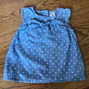 👶9mo Carter's Chambray Polka Dot Blouse